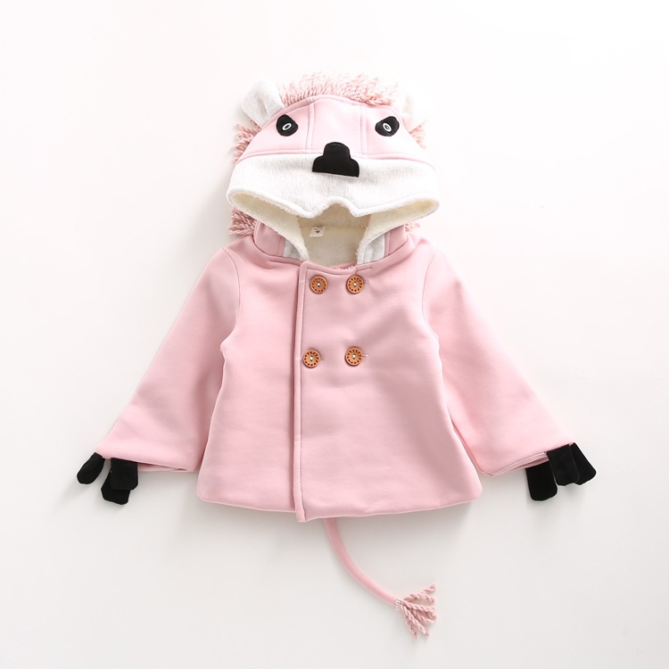 2016 autumn and winter new children 's clothing  children With cap lion plus velvet thick two sets of girls cute clothes sets child suit 2015 autumn and winter children set twinset clothing plus thick velvet sets kids clothes with animal