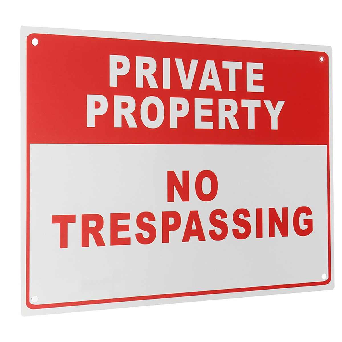 NEW Safurance Private Property No Trespassing Metal Safety Warning Sign 4 Drilled Hole 20x30cm Home Security