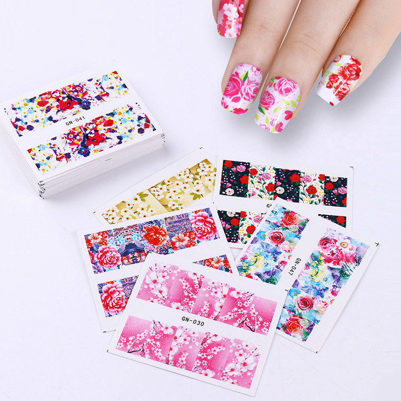 Rose Flower Nail Sticker Set Dream Catcher Sakura Butterfly Water Decals Nail Art Transfer Sticker Manicure Accessories Kits