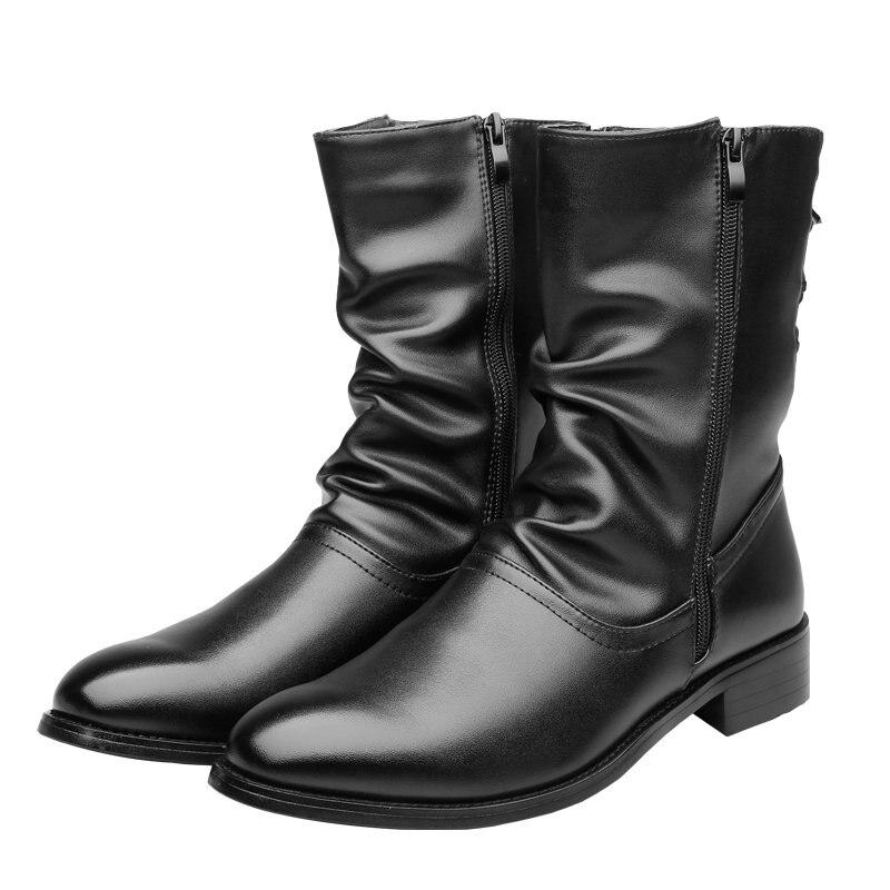 Men's Boots Men Desert Boot Mid-Calf Genuine Leather Boots Men's Zipper Men Winter Shoes Round Toe Motorcycle Boots' Army Black