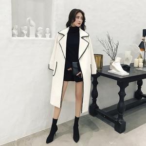 Image 4 - LANMREM Solid Color Wavy Pattern Large Pockets Belt Woolen Coat Casual Fashion Loose Plus Woman 2020 Autumn Winter New TC981