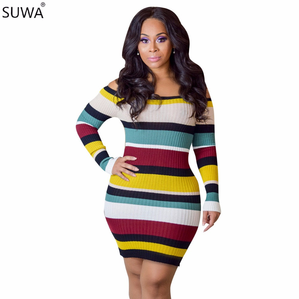 Autumn long sleeve women dress slash neck bandage bodycon dress striped knitting sexy dress A7531L