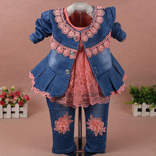 3Pcs/set Spring Autumn Fashion Jeans Colthes Suit Baby Girls Lace Suits Denim Jacket And White Dress Flower Jeans(China)