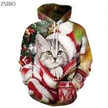 Christmas Harajuku Santa pattern Tree Cat 3D Digital Print Streetwear mens Hoodies Hip Hop Sweathirts Couple S-3XL