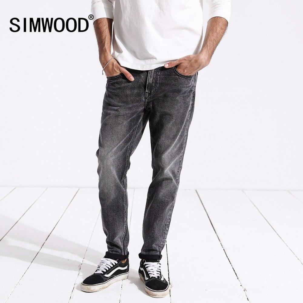 SIMWOOD Новое поступление 2018 осенние джинсы Для мужчин модные Винтаж Slim Fit Повседневное Брендовые джинсовые брюки плюс Размеры Бесплатная дост...