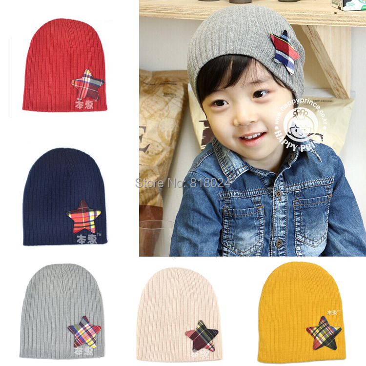 (8 Colors )Retail Autumn Winter Warm Five Star Baby Beanie Spring Children Cap For Boy Girl Infant Hats for 1-3T
