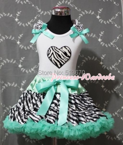 Valentine Aqua Blue Zebra Pettiskirt Skirt White Pettitop with Zebra Heart Girl Set 1-8Y MAPSA0246 halloween rhinestone cat black pettitop girl green zebra pettiskirt outfit 1 8y mamg1226