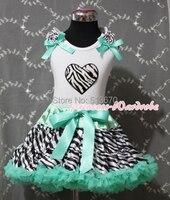 valentine bleu aqua zèbre pettiskirt jupe pettitop blanc avec zebra heart girl 1-8y mapsa0246 ensemble