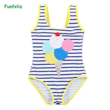 Funfeliz Cute Baby Girls swimsuit 2-12 Years Striped One Piece Swim wear New Quality Girl Swimwear Kids Girls Bathing Suits недорго, оригинальная цена