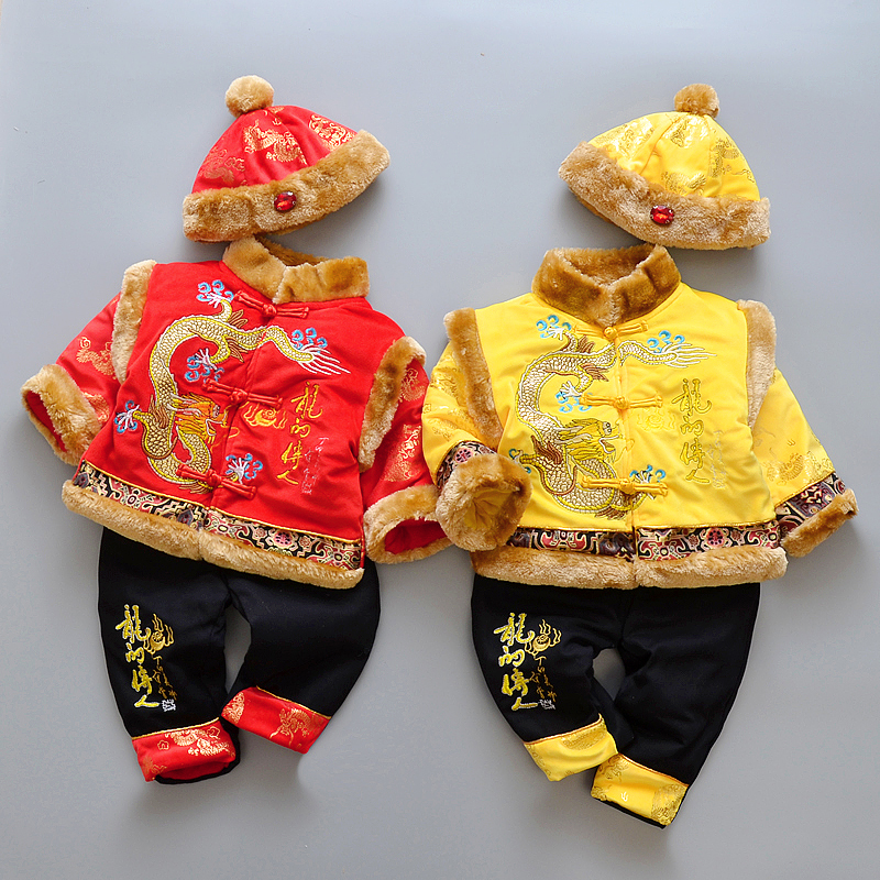 HI BLOOM 2018 Chinese New Year Children Tang Suits 3 Piece Winter Exquisite Embroidery Cotton New Year Clothing for 0-2 Years a three dimensional embroidery of flowers trees and fruits chinese embroidery handmade art design book