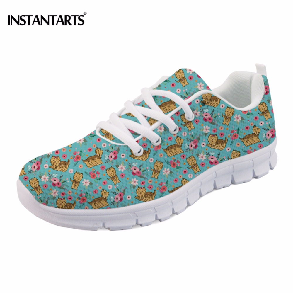 INSTANTARTS Women Casual Flats Cute Dog Yorkshire Terrier Pug Flower Pattern Sneakers for Female Lace Up Spring Mesh Flat Shoes instantarts casual women s flats shoes emoji face puzzle pattern ladies lace up sneakers female lightweight mess fashion flats