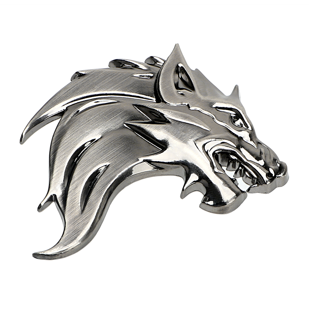 LEEPEE Badge Logo Car Sticker Reflective Decal Auto Decoration Badge Motorcycle Wolf Head Emblem 3D Metal Windshield