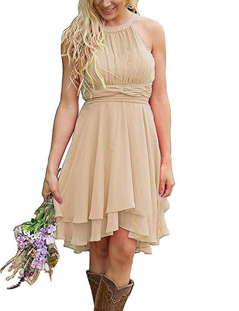 Cheap   Bridesmaid     Dresses   Ruched Mini Junior Maid Of Honor Gowns Plus Size Chiffon   Dress   SMN02 Sleeveless Backless