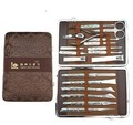 18 In 1 Stainless Nipper embroidered Cutter Nail Clipper Pedicure Manicure Set Kit Case Tool