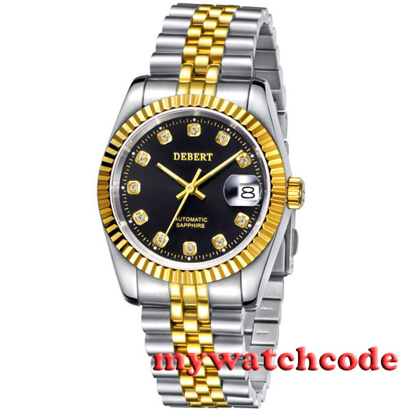 36mm debert black dial 21 jewels miyota Automatic Diamond mens wrist Watch D10 36mm debert golden dial 21 jewels miyota automatic diamond mens watch d11