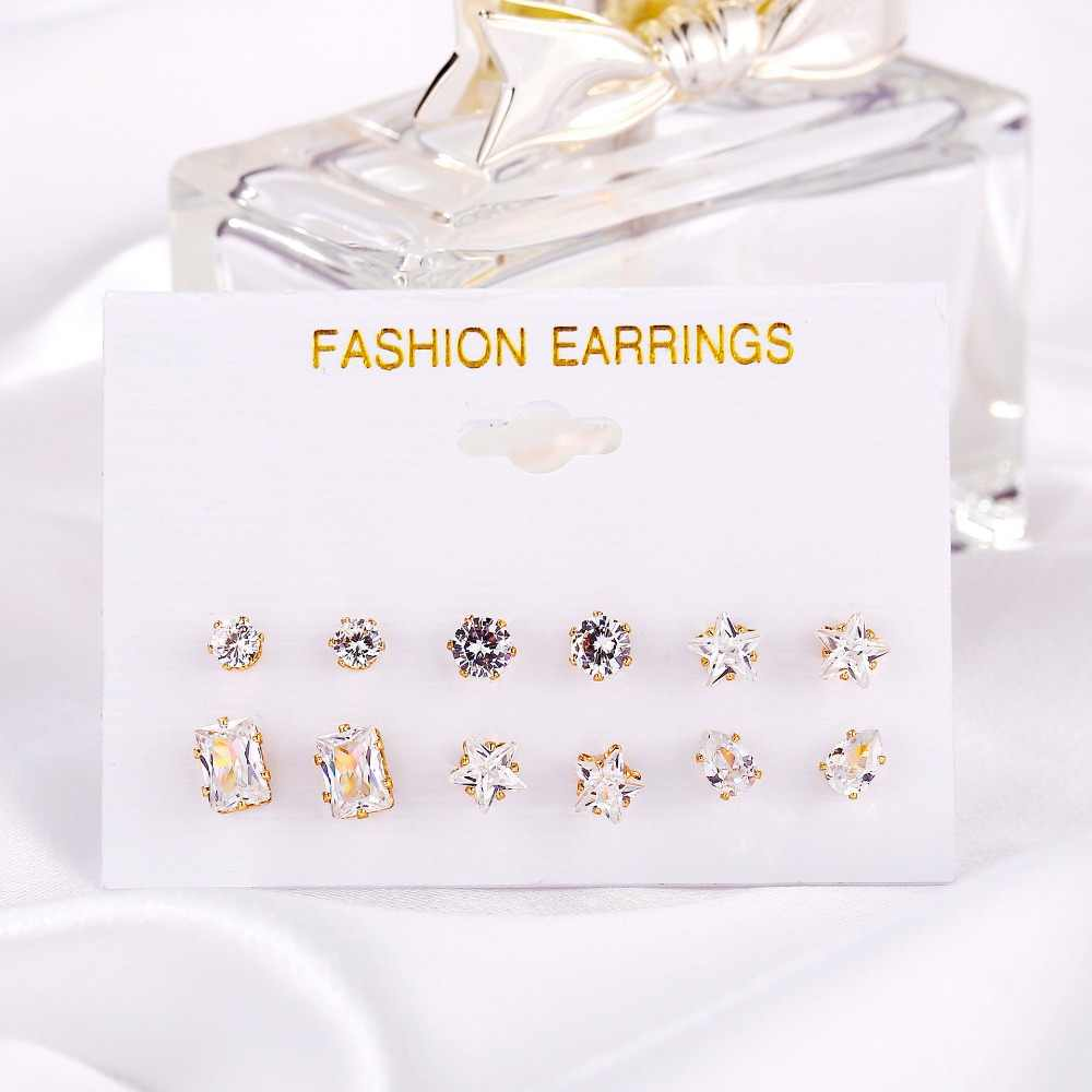 6 pezzi/un sacco di lusso Lucido Austria di Cristallo Orecchini con perno per Le Donne di Modo di Perline Zircone Piccolo Orecchino femminile Dei Monili di costume