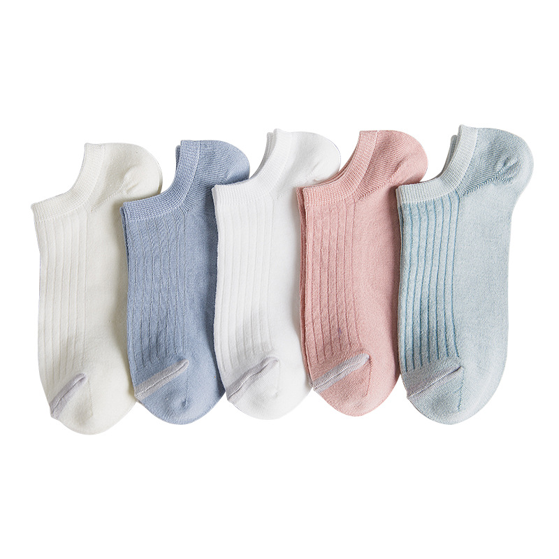 Women Ankle   Socks   White Pink Blue Low Cut No Show Solid Striped Lovely Cotton Women   Socks   for Girls Invisible Short Summer   Socks