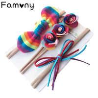 3 pçs/set Íris Nylon Fina Headband Flor Sereia Brilho Hairbows Bandas de Cabeça Elástica Para O Bebê Meninas Headband Acessórios Para o Cabelo