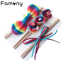 3Pcs/Set Rainbow Nylon Fine Headband Flower Mermaid Glitter Hairbows Elastic Head Bands For Baby Girls Hair Accessories