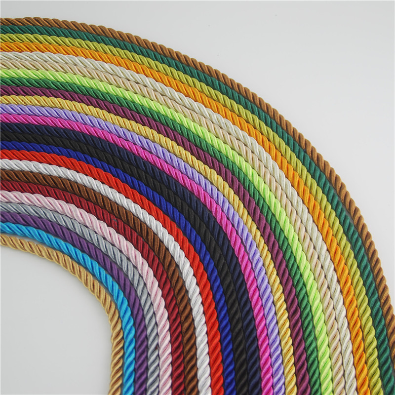 FASMILEY DIY Cord Jewelry Findings 5mm Braided Rope Multi Solid Color Twisted Thread DIY Accessories String