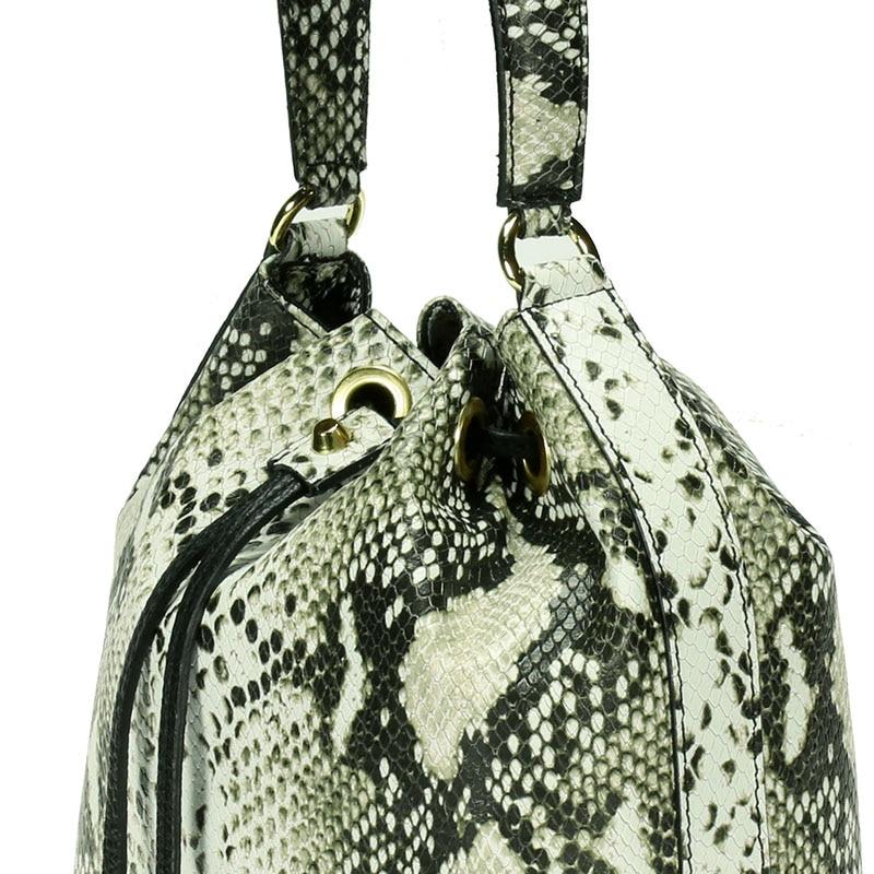 lulu milano Genuine leather leather printed snakeskin handbag made in Italy   P105-s 4