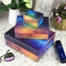 Simple copper cardboard gift box Customized Retro Starry sky carton creativity Business Haute Couture Large 3pcs