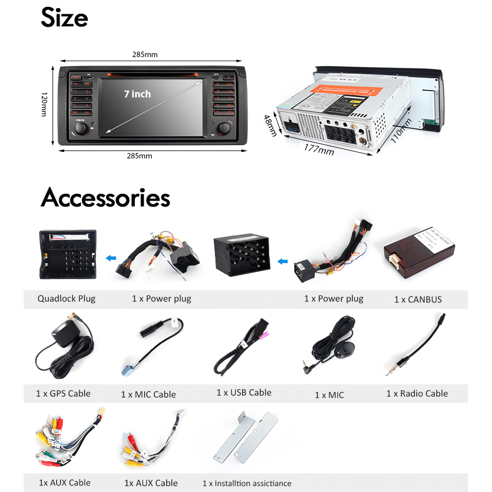 A Sure Car Multimedia Player Gps Navigation Dvd For Bmw E39 X5 Dual Stereo Wire Harness 12pin Radio Power Plug Cd Mp3 Tape Us E53 M5 318 320 328 E46 With Bt Rds Canbus In From Automobiles