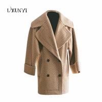 Autumn Winter Stripe Wool Woolen Coat Women 2018 Office Lady Double Breasted Large Lapel Woolen Jacket