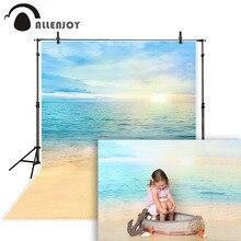 Allenjoy fotografia backdrops verão céu sol mar oceano praia fundo foto estúdio chuveiro do bebê criança marinheiro sereia photocall