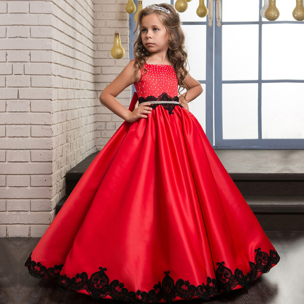 Red Satin Lace Long Flower Girl Dresses For Wedding With Beading Bow Sash Girls First Communion Gowns Special Occasion Dresses