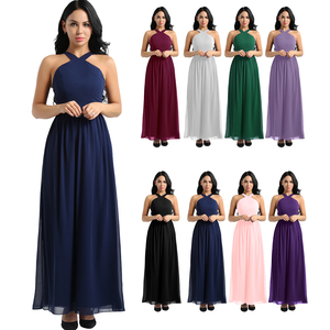Image 2 - Tiaobug femmes dames croisé bretelles en mousseline de soie élégante robes de demoiselle dhonneur princesse bal fête Maxi longue robe de mariée