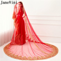 JaneVini 2018 Arabic Red 3.5 Meters Long Red Bridal Veil With Gold Lace Applique One Layer Cathedral Women Wedding Veils No comb