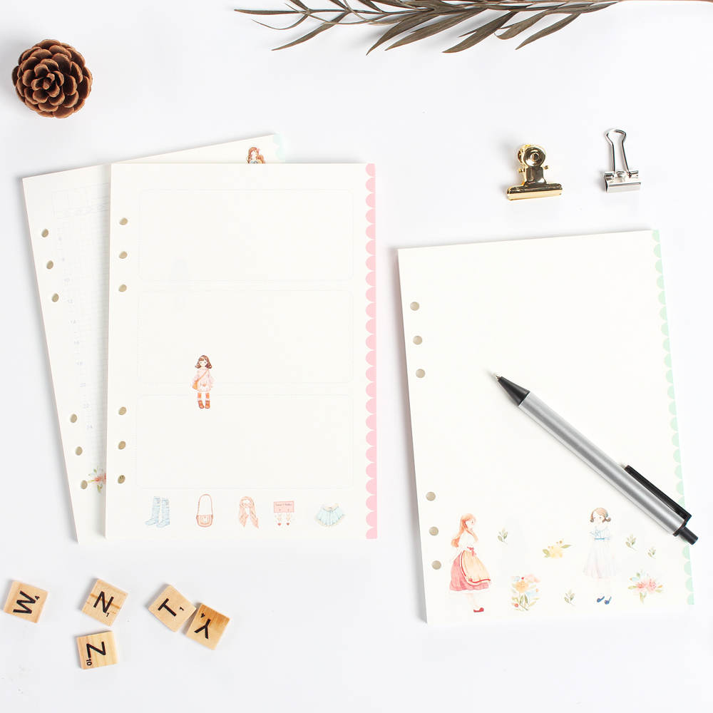 Candy creative girls design school 6 holes inner paper core stationery,cute refiling paper core set for spiral notebooks A5 A6 2018 new creative flowers series 6 holes spiral notebook paper cute inner paper core for notebooks adaptation filofax a5 a6 page 10 page 10