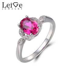 Leige Jewelry Ruby Rings Ruby Promise Rings Oval Cut Red Gemstone July Birthstone Real 925 Sterling Silver Fashion Fine Jewelry