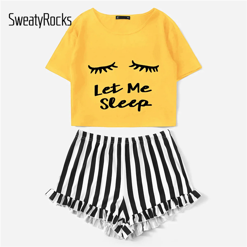 SweatyRocks Letter Print Tee And Striped Ruffle Shorts PJ   Set   Kawaii Nightwear Women Short   Sets   2019 Summer Casual   Pajama     Sets