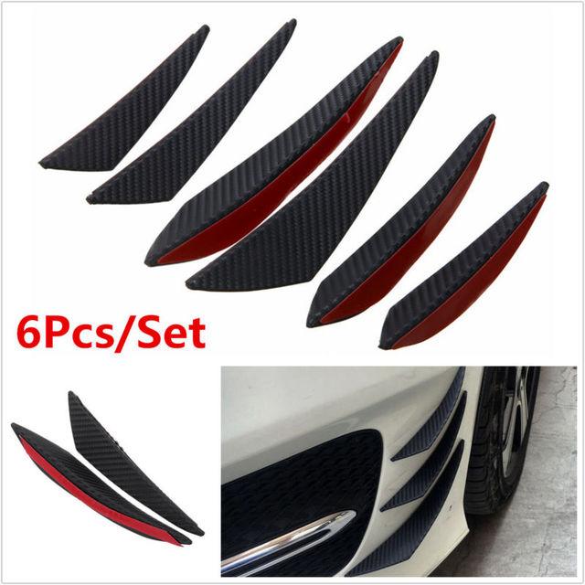 6 piezas fibra unids de carbono aspecto Universal negro parachoques delantero labio Splitter aleta aire cuchillo Auto cuerpo lado ala alerón para parachoques delantero