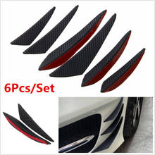 6pcs Carbon Fiber Look Universal Black Front Bumper Lip Splitter Fin Air Knife Auto Body Side Wing Spoiler For Carfront Bumper(China)