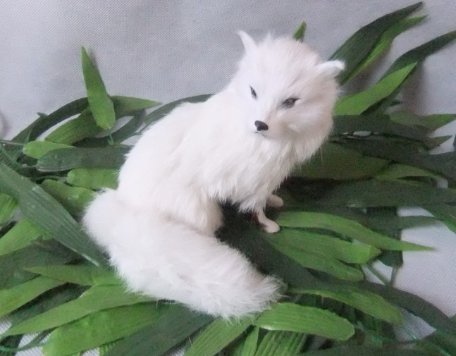 The simulation simulation white fox fur animals Handmade leather Home - Home Decor - Photo 3