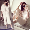 New spring and summer 2016 women's large size loose hoodie wide leg pants suit piece suit women clothing plus size casual shirt