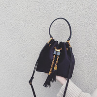 HANSOMFY| Velvet Bucket Tassel String Chain Shoulder Bag PU Leather Evening Bag Handbag Elegant Women Bag Crossbody Bags