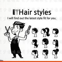 Hair Salon Vinyl Decal Cartoon Man Sicciors Hair Styles Sign Mural Wall Sticker Hair Shop Barbershop Room Decoration
