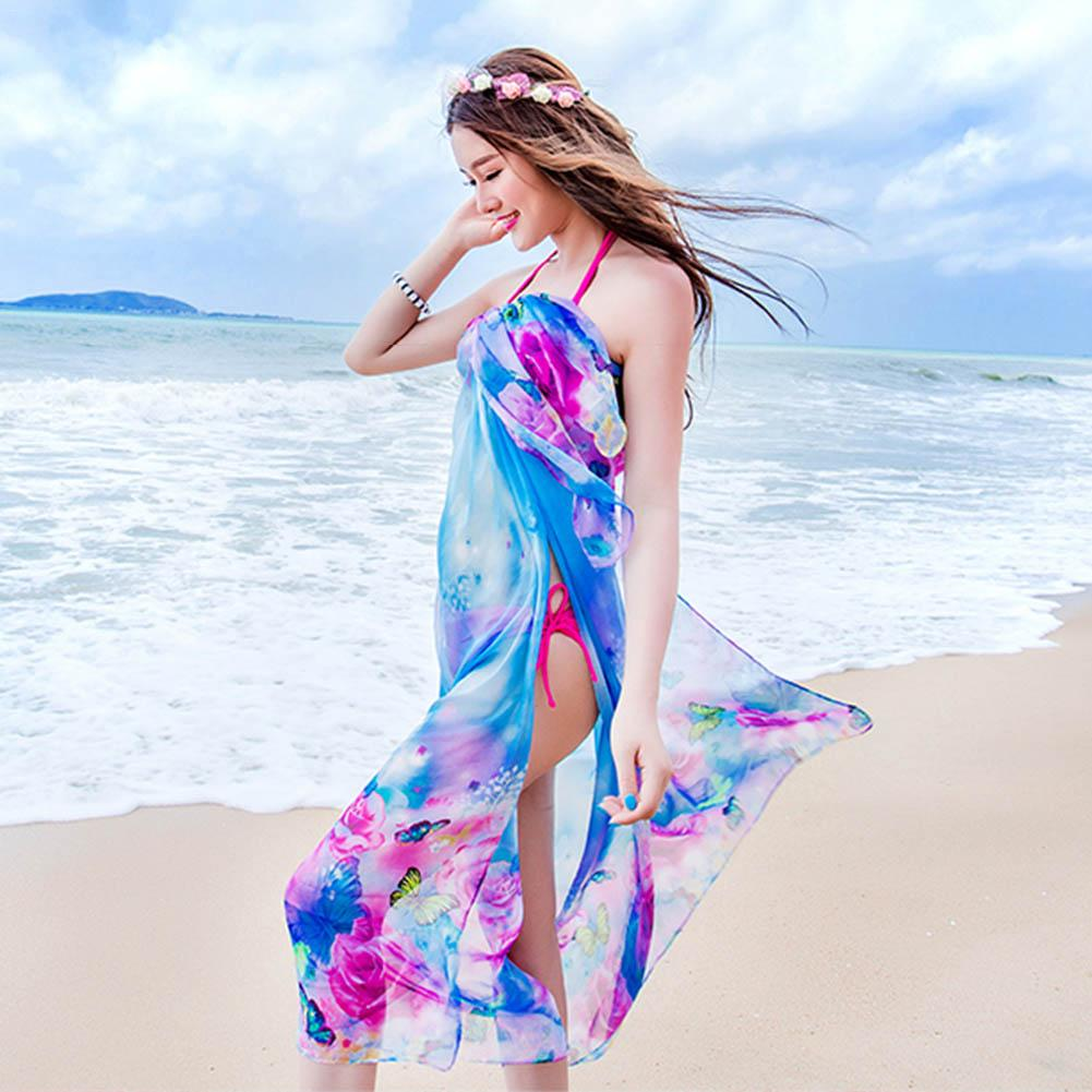 180*150cm 2018 Summer Print Scarf Oversized Chiffon Women Pareo Beach Cover Up Wrap Sarong Sunscreen Long Cape Female