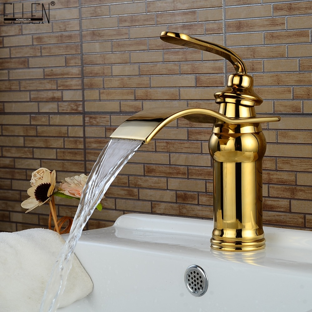 Bathroom Faucets Gold Waterfall Bath Sink Water Mixer Golden Jade Basin Faucet Hot and Cold Deck Mounted ELS1505GBathroom Faucets Gold Waterfall Bath Sink Water Mixer Golden Jade Basin Faucet Hot and Cold Deck Mounted ELS1505G