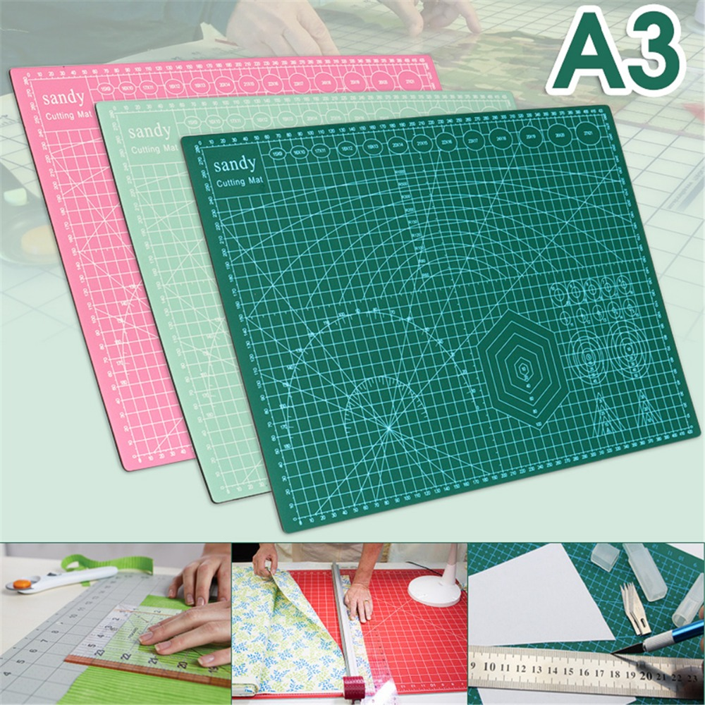 Kicute PVC Cutting Mat A3 Durable Self Healing Cut Pad Patchwork Tools Handmade Diy Accessory Cutting Plate 3 Colors 45*30cm top quality pvc rectangle self healing cutting mat tool non slip craft quilting printed professional double sided cutting mat
