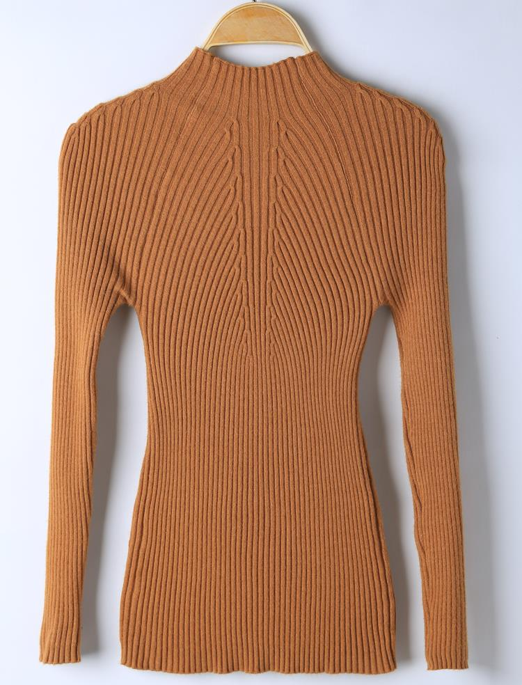 New 17 Spring Fashion Women sweater high elastic Solid Turtleneck sweater women slim sexy tight Bottoming Knitted Pullovers 29