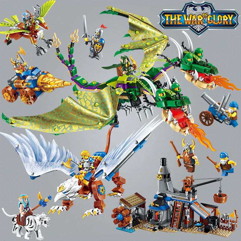 Enlighten Glory War Educational Building Blocks Toys For Children Gift Castle Knight Heroes Weapon Gun Elf Dragon Griffin Smithy enlighten new 2315 656pcs war of glory castle knights the sliver hawk castle 6 figures building block brick toys for children