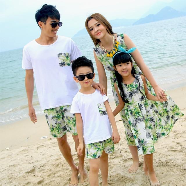 Conjunto familiar vestido de ropa de playa ropa para la madre e hija Girls vestidos de ropa de vestir para el padre hijo ML09