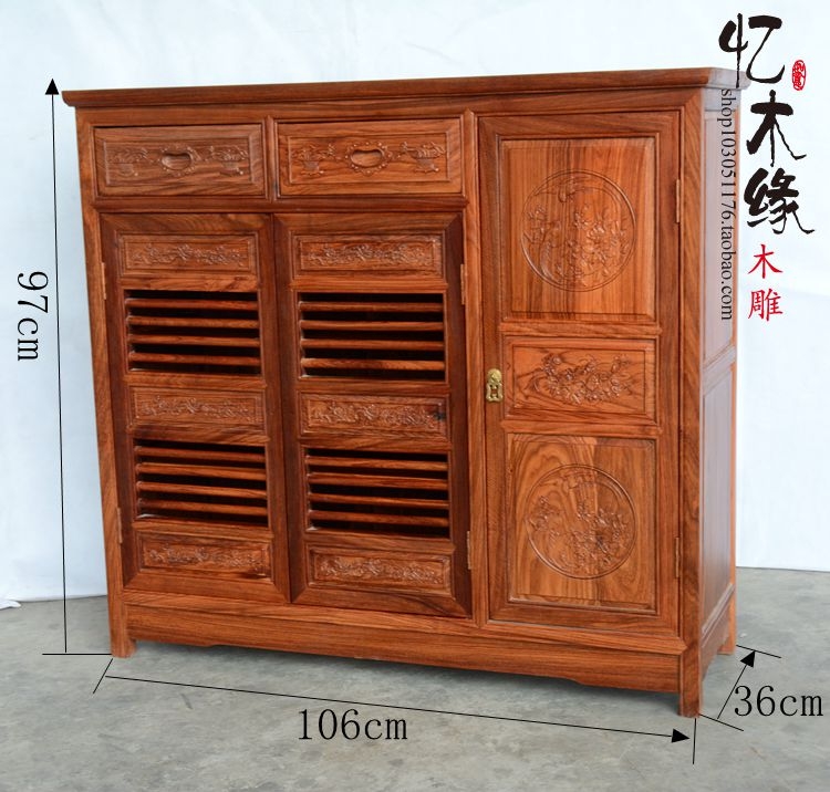 Dongyang mahogany furniture, hedgehog, rosewood, three door shoes lockers, Chinese entrance cabinets, solid shoes rosewood furniture rosewood wooden head solid wood antique buddha cabinets entrance dining side cabinets furniture storage