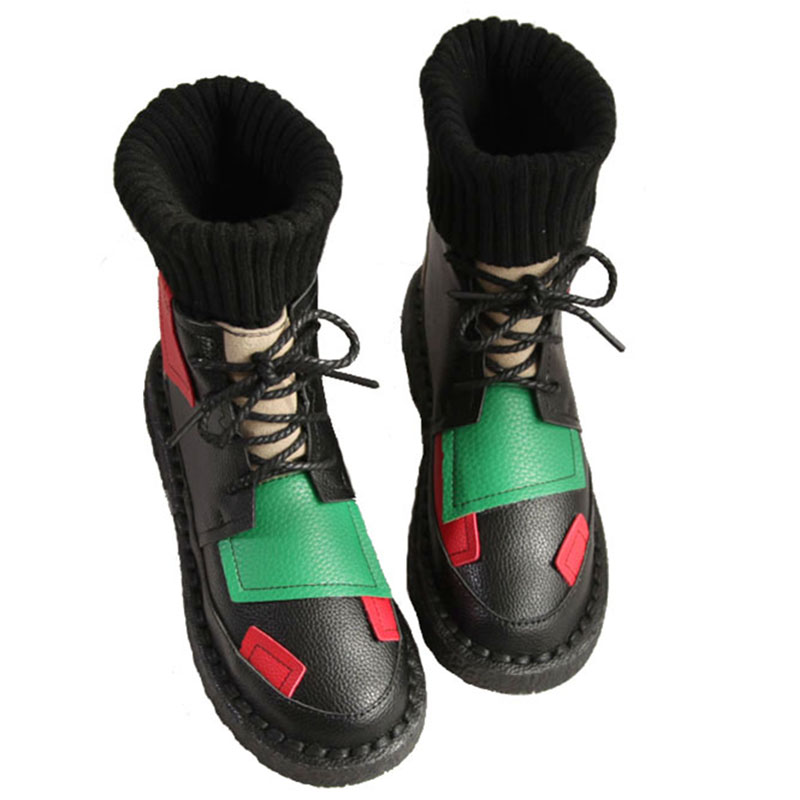 Candy color Martin boots autumn new Korean flat boots wool tube Mori girl retro literary lacing