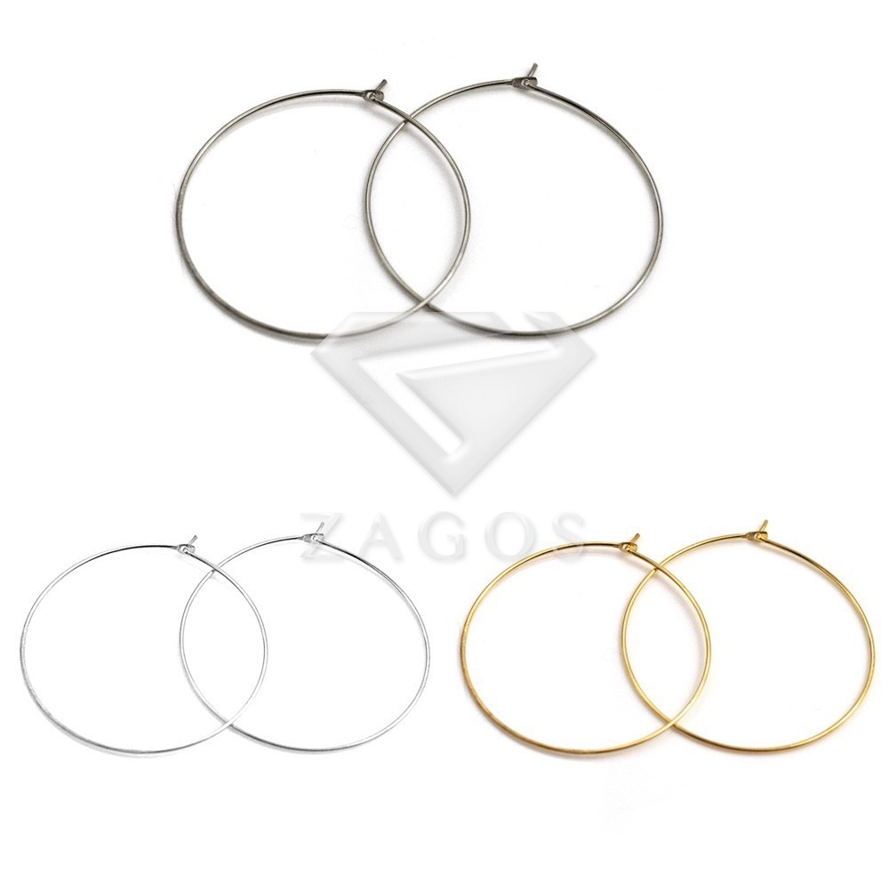 25/30/35/40mm Steel Round Hoop Earring Components Findings For Jewelry Making DIY Crafts Wholesale